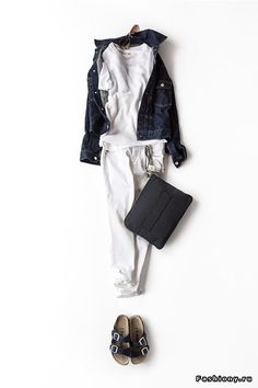 #japanese#white denim#birkenstocks#denim jacket