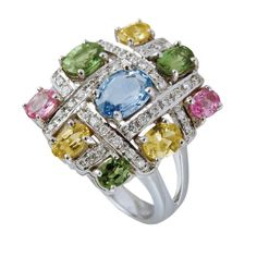 Multi-coloured gemstone and diamond ring by Isabelle Langlois Weird Jewelry, Bling Jewelry, Jewlery, Statement Jewelry, Jewelry Box, Titanic Jewelry, International Jewelry, Fantasy Jewelry, Jewelry Branding