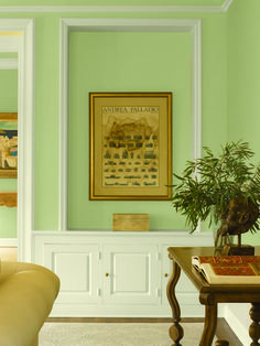 Dunn-Edwards Paints green paint color: Wall: Watercress DE5528; Trim: Cottage White DEW318   Click for a free color sample #DunnEdwards