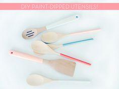 Make It: DIY Paint-Dipped Wooden Utensils!