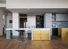 Melbourne Penthouse II by K.P.D.O. House, Interior, Floor Design, Gold Kitchen, Apartment, Nyc Living, Melbourne Apartment, House Tours, City Living