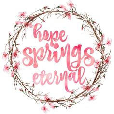 """Hope Springs Eternal"" free printable watercolour art featuring a cherry blossom wreath. Decorate your home for spring with beautiful free printable art! Free Printable Art, Free Printables, Spring Art, Spring Time, Watercolor Quote, Art Watercolour, Thrifty Decor Chick, Free Artwork, Flower Art"