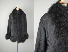 Vintage Black Embroidered Mongolian Lamb by OffBroadwayVintage, $175.00