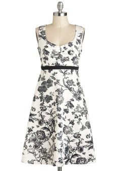 Still Life As We Know It Dress - Mid-length, Black, White, Floral, Daytime Party, A-line, Sleeveless, Tis the Season Sale