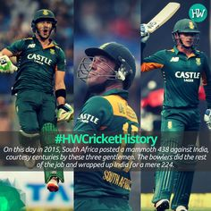#HWCricketHistory On this day, Quinton de Kock, AB de Villiers and Faf du Plessis demolished the Indian bowling attack! #SA #IND