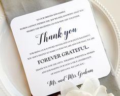 Wedding thank you for reception. #wedding #receptionthankyou  Check out this item in my Etsy shop https://www.etsy.com/listing/223495596/wedding-reception-thank-you-card-style