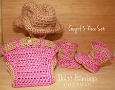 Cowgirl or Cowboy Crochet Baby Boots Diaper by DolceBambinoCouture, $55.00