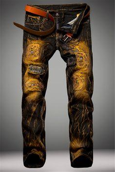 $23.57 Cotton+Jeans Holes Design Patched Dye Zipper Fly Denim Pants