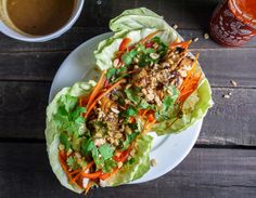 Barbells and Bellinis: Thai Chicken Tacos Ginger-peanut-sesame dipping sauce? Yummmmmm!