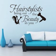 Hairstyle Proverb Removable Barbershop Decor Wall Stickers - BLACK