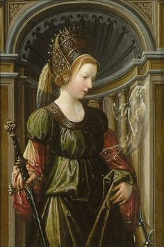 Flemish Artist (early 16th century) St Catherine of Alexandria A868; oil on panel; 30 x 21 cm.  Ashmolean Museum, Oxford.