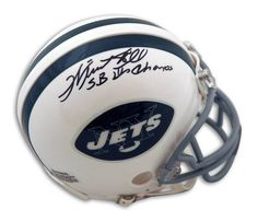 e5596406262 Winston Hill New York Jets Autographed Throwback Mini Helmet Inscribed