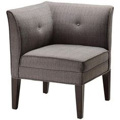 "Corner accent chair with button accents and tapered legs. Product: Chair    Construction Material: Wood and fabric    Color: Greystone   Features:  Single button tufted back    Neutral greystone textured fabric    Will enhance any decor    Dimensions: 38"" H x 24"" W x 24"" D"