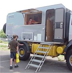 CAMPER STAIRS / LADDERS - Page 2 - Mercedes-Benz Forum Overland Truck, Overland Trailer, Expedition Vehicle, Motorhome Accessories, Stair Ladder, Off Road Camper Trailer, Mercedes Benz Unimog, Adventure Campers, Trailer Plans