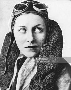 Portrait of English aviator Amy Johnson (1903-1941) wearing her flight jacket, cap and goggles, circa 1935.