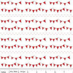 Red Bunting Quilting Cotton Fabric by The Simple Life from Riley Blake Designs, 1 Yard
