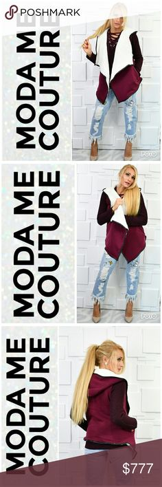BURGUNDY VEST LINED WITH FAUX SHEARLINGFUR Brand new  Boutique Item Price Is Firm Bundle to Save  Warm Burgundy hooded vest featuring black faux leather piping, faux shearling fur lining, hoodie and pockets! Grab this beauty for your Fall/Winter Wardrobe. MODA Jackets & Coats Vests