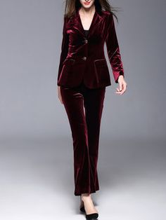 Wine Red Two Piece Buttoned Elegant Velvet Long Sleeve Suits