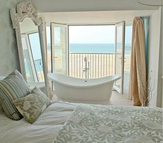 Bath in bedroom - with a view
