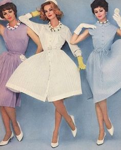 A trio of lovely springtime hued early 1960s frocks.1960s fashion