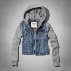 Abercrombie & Fitch Marisa Denim and Fleece Jacket Outerwear Women, Outerwear Jackets, Fall Outfits, Cute Outfits, Vest Outfits, Skirt Outfits, Sweater Jacket, Hooded Jacket, Jackets For Women