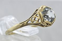 Vintage 10K Yellow Gold 0.50ctw Aquamarine Ring by exquisiteccj