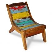Recycled fishing boat furniture from Bali sold at Warehouse 2120 in Hickory, NC