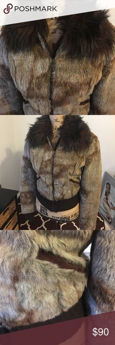 Adorable Bray Steve Alan Faux Fur Jacket Multicolored waist length jacket with brown faux Fur color.  Gathered waist, sleeves and pockets for a trendy look.  Warm and comfy! Dry cleaning needed.  Size Medium Bray Steve Alan Jackets & Coats