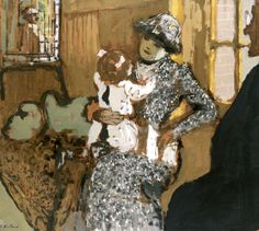 Child in a White Apron, c.1909 (oil on brown paper laid down on canvas), Vuillard, Edouard (1868-1940)