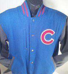 Chicago Cubs MLB Mens Size Medium Majestic Wool Varsity Jacket #Majestic #ChicagoCubs