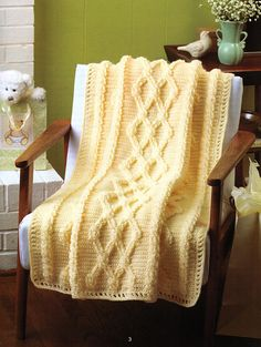 Aran Cables Baby Blanket - crocheted cables
