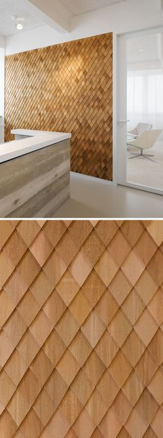 In this contemporary office interior, the designers used wooden shingles on various wall panels to act as accent walls and to help create texture in the space.