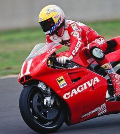 John Kocinski 1994.   Never really successful but that bike looked so good. Tamburini.