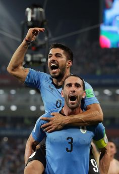 Diego Godin and Luis Suarez of Uruguay celebrate victory following the 2018  FIFA World Cup Russia 3eed32baf