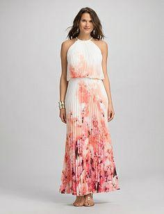 Pleated Floral Maxi Dress | Dressbarn