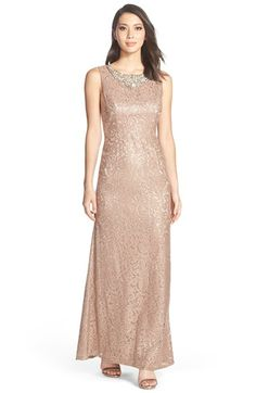 Eliza+J+Embellished+Neck+Lace+Gown+available+at+#Nordstrom