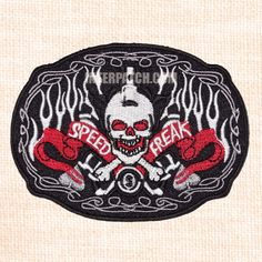 "Speed Freak Skull Biker Embroidered Patch Badge Sew by Interpatch. Size: 10cm x 7cm (3.9"" x 2.7"")"