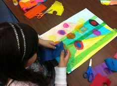 May Showers Bring May Tissue Paper Collage Flowers? See 3rd Grade Lesson In Progress - Brunswick Acres Art