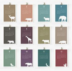 Another Etsy calendar from Loopz in which month names have been ditched in favour of numbers, You can buy the calendar sheets individually.