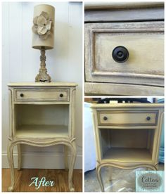 Before and After of small nightstand transformed from banana yellow color to a custom design using Annie Sloan Chalk Paint® in Old White, Cream, and Coco. Finished with Clear and Dark Wax.