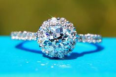 OLD and NEW - 1.12 carats total - Old mine cut Center diamond - Halo -  Antique Style - Diamond Engagement Ring 14K