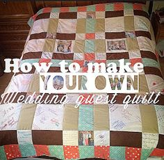 Pin now read later Free : DIY Not Your Average Wedding Guest Book- My first Quilt, Wedding Style - You could also use this idea for your first baby, a quick look at your family through the years, or any big event. I knew I would never look at a guest book that often, nor would it mean that much to me. So I decided to make a wedding guest guilt! With pictures and all. I wrote out how you can too in my blog! Check it out!