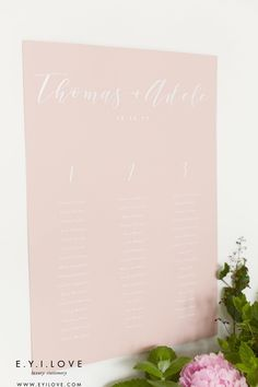 Wedding breakfast table plan from our Adele collection, created with white ink onto beautiful blush board. Luxury Wedding Invitations, Wedding Stationery, Order Of Service, Wedding Breakfast, Rose Gold Foil, Table Plans, White Ink, Adele, Rsvp