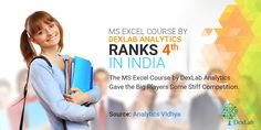 #AnalyticsVidya has deemed #DexLabAnalytics as the 4th best institute for learning advanced #MSExcel in #India
