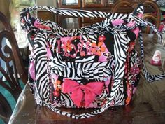 Custom Zebra & Flower Print Diaper Bag with Pink Trim and Accents gransglamourbabie. Cute Diaper Bags, Animal Prints, Flower Prints, Pink, Baby, Fashion, Moda, Floral Patterns, Fashion Styles