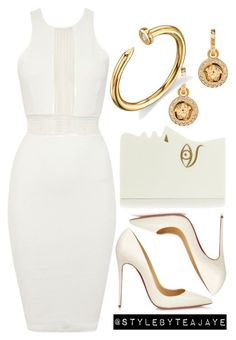 """Untitled #1615"" by stylebyteajaye ❤ liked on Polyvore featuring TFNC, Christian Louboutin, Charlotte Olympia, Versace and Sydney Evan #christianlouboutingold"