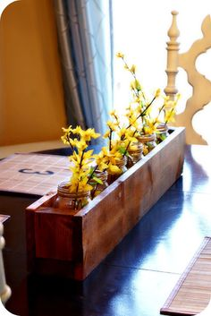 Wooden planter box center piece! Super cute.