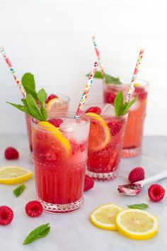 Non-alcoholic Raspberry Lemonade Spritzers are the perfect summer drink!