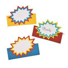 Superhero Place Cards - OrientalTrading.com Use idea for name tags??
