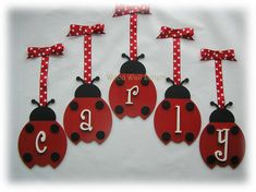 Hand Painted Ladybug Wooden Wall Letters  Hanging Nursery Wall Name Art - Customized. $15.98, via Etsy.